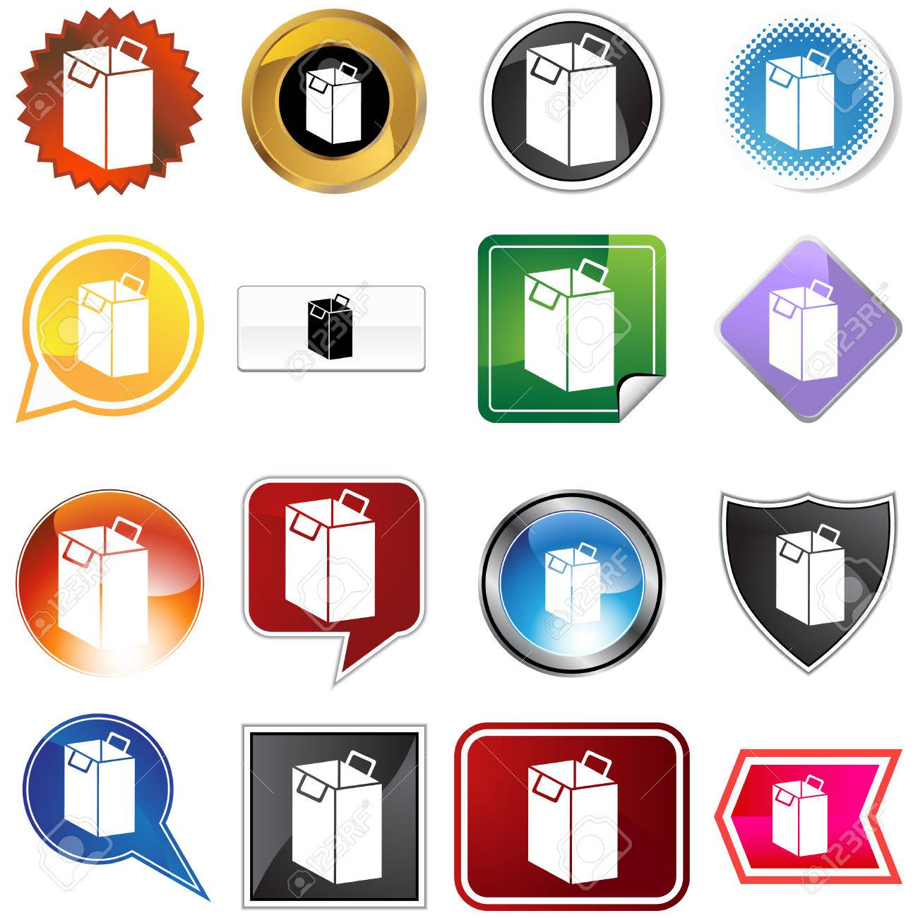 Shopping bag icon set isolated on a white background. Stock Vector - 5918874