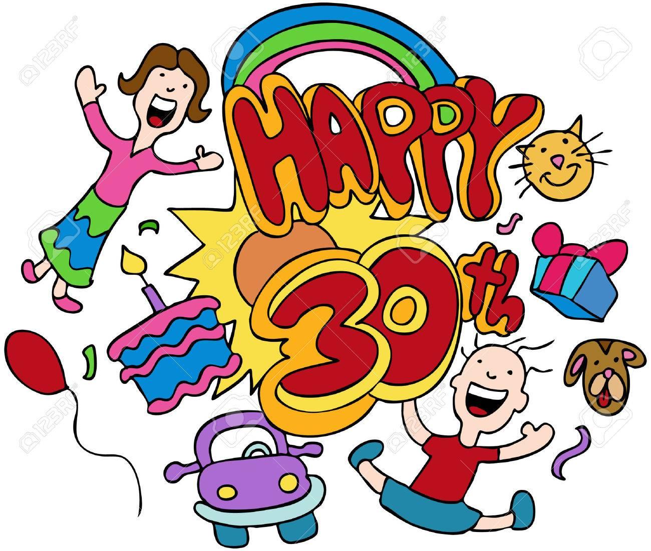 Happy 30e Verjaardag Gea Soleerd Op Een Witte Achtergrond Royalty