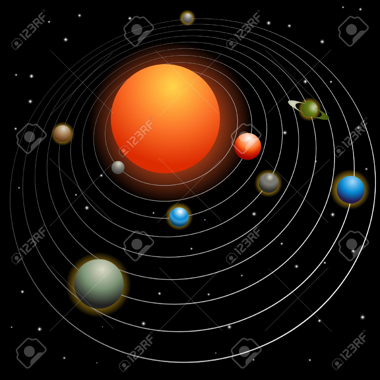 Solar System Image Isolated On A Black Background. Royalty Free ...