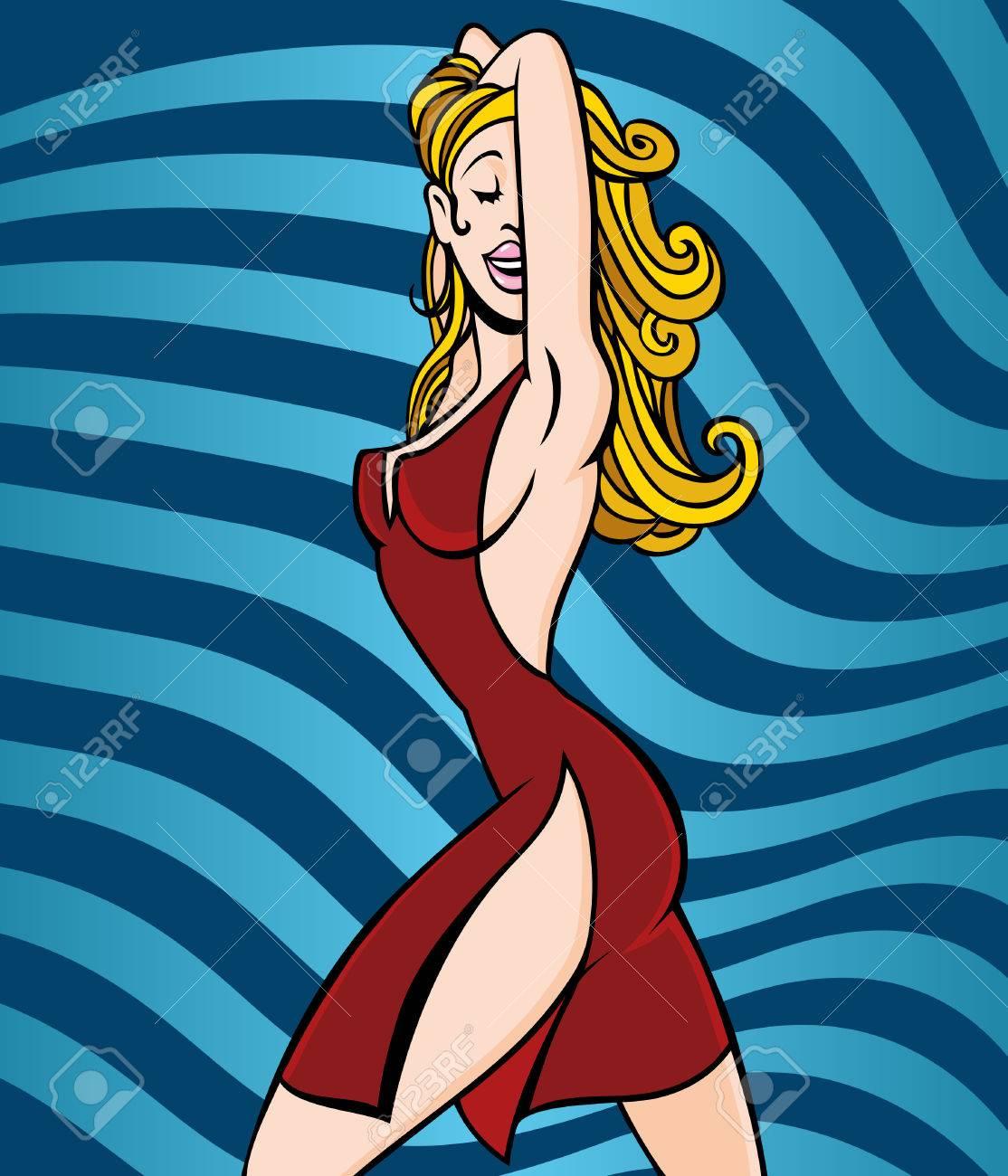 Caricatura de mujer vestida de rojo