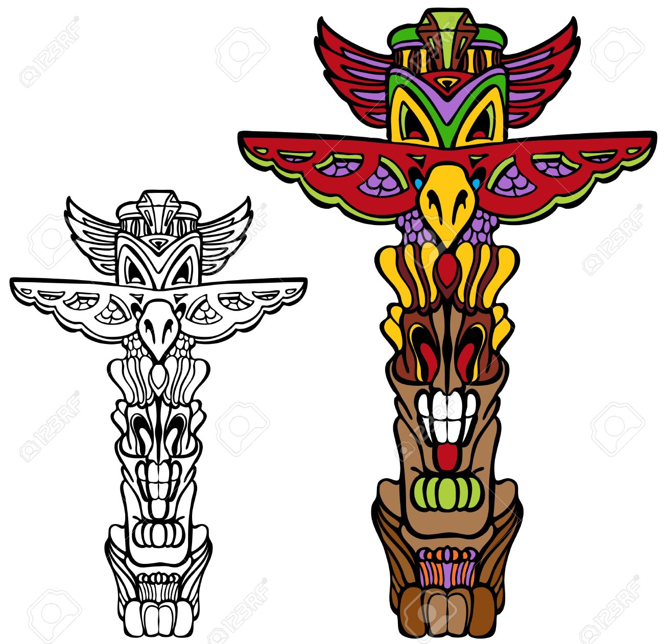 349 indian totem pole stock vector illustration and royalty free