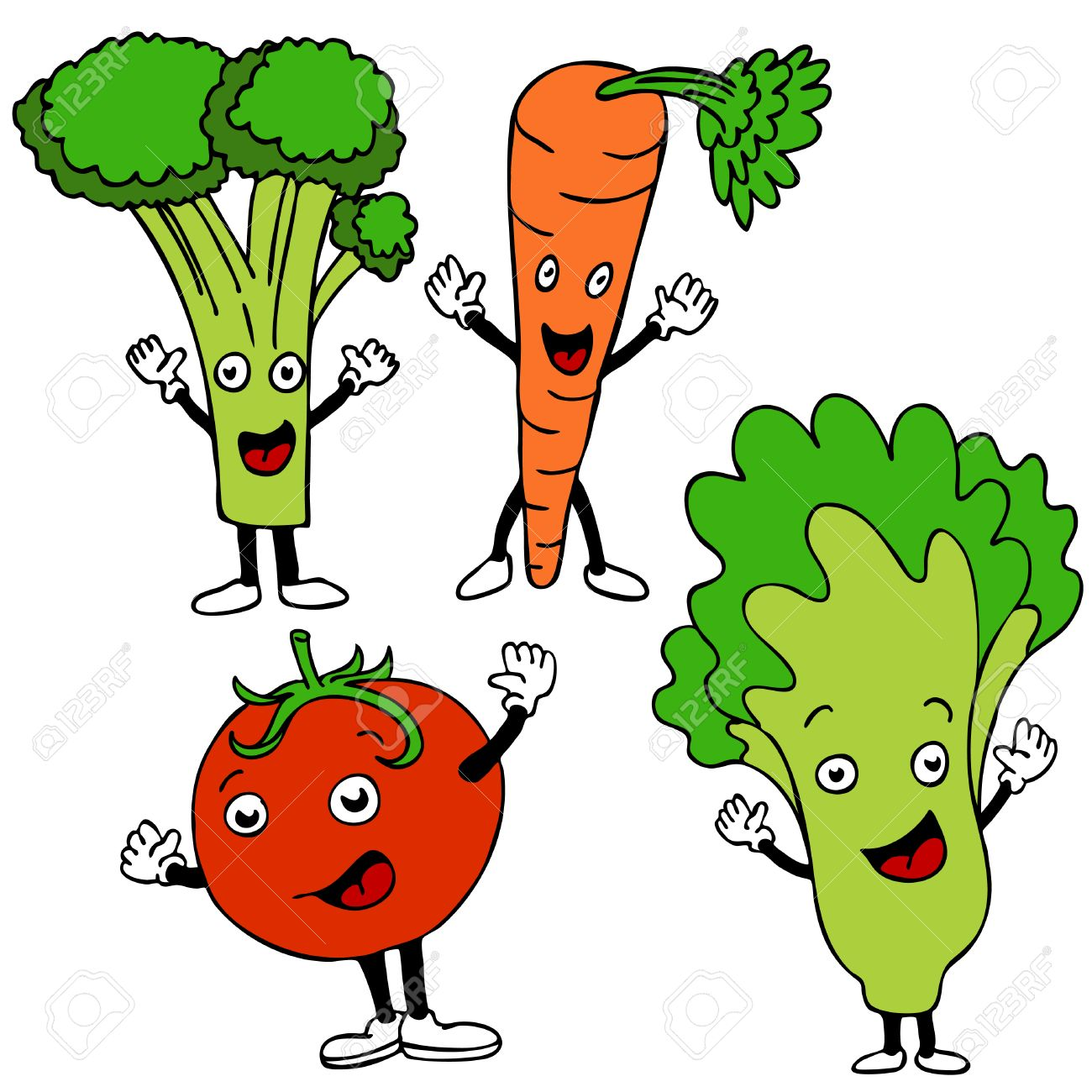 a set of healthy food cartoon characters royalty free cliparts