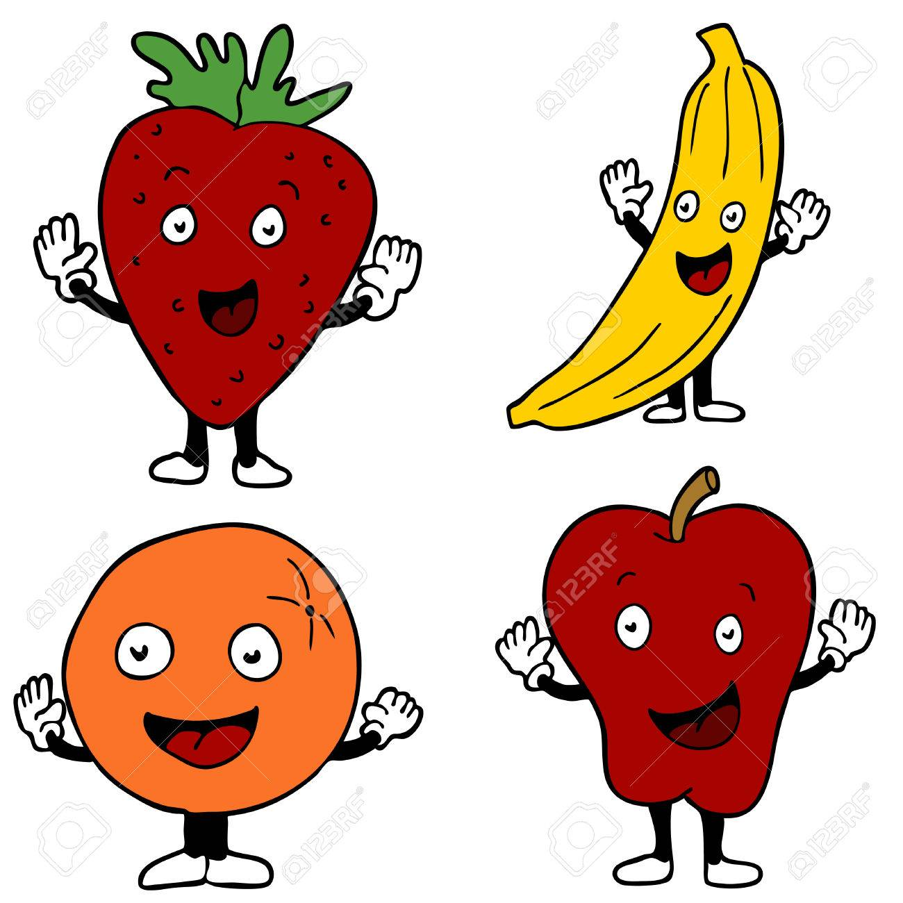 An image of fruit cartoon characters. Stock Vector - 7649177