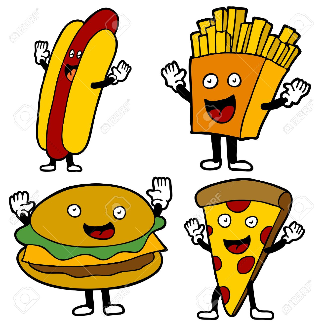 An Image Of Fast Food Characters. Royalty Free Cliparts, Vectors ...