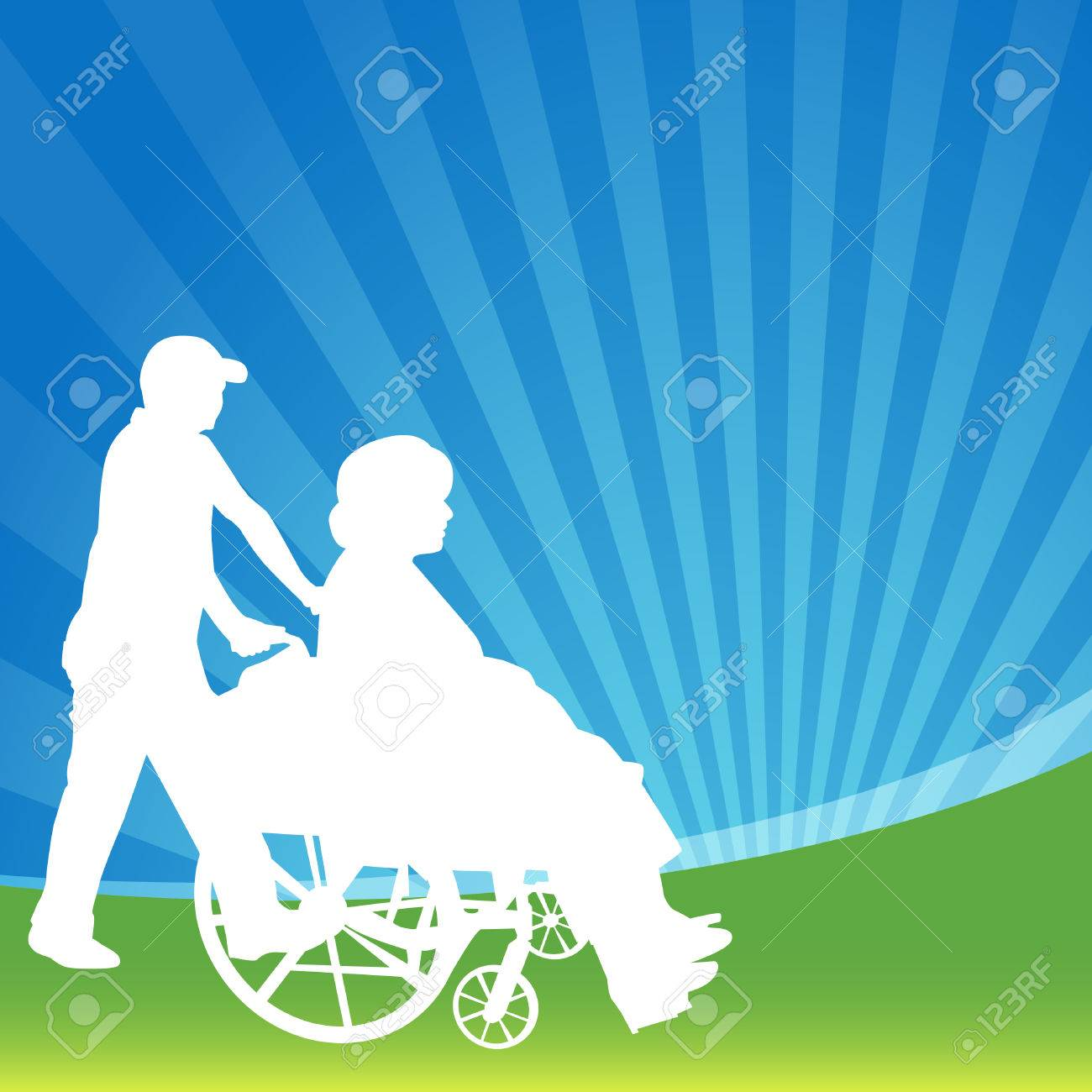 An image of a woman in a wheelchair being pushed. Stock Vector - 7684706