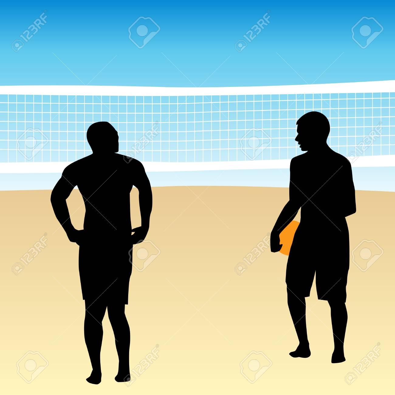 An image of volleyball players. Stock Vector - 7734575