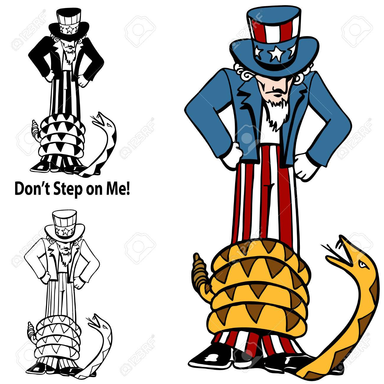 An image of a tea party rattlesnake with Uncle Sam. Stock Vector - 7852241