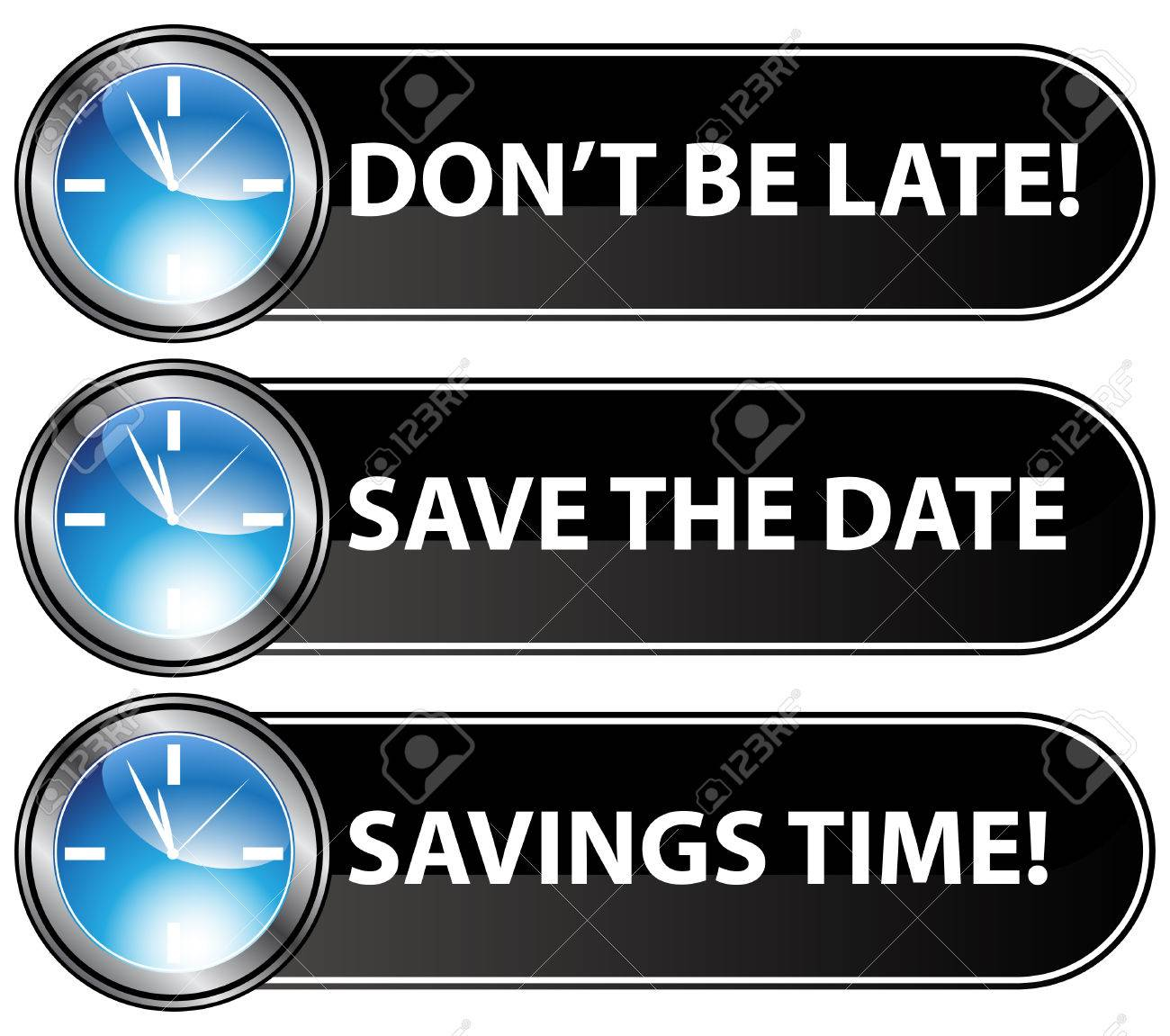 An image of save the date time buttons. Stock Vector - 7944275