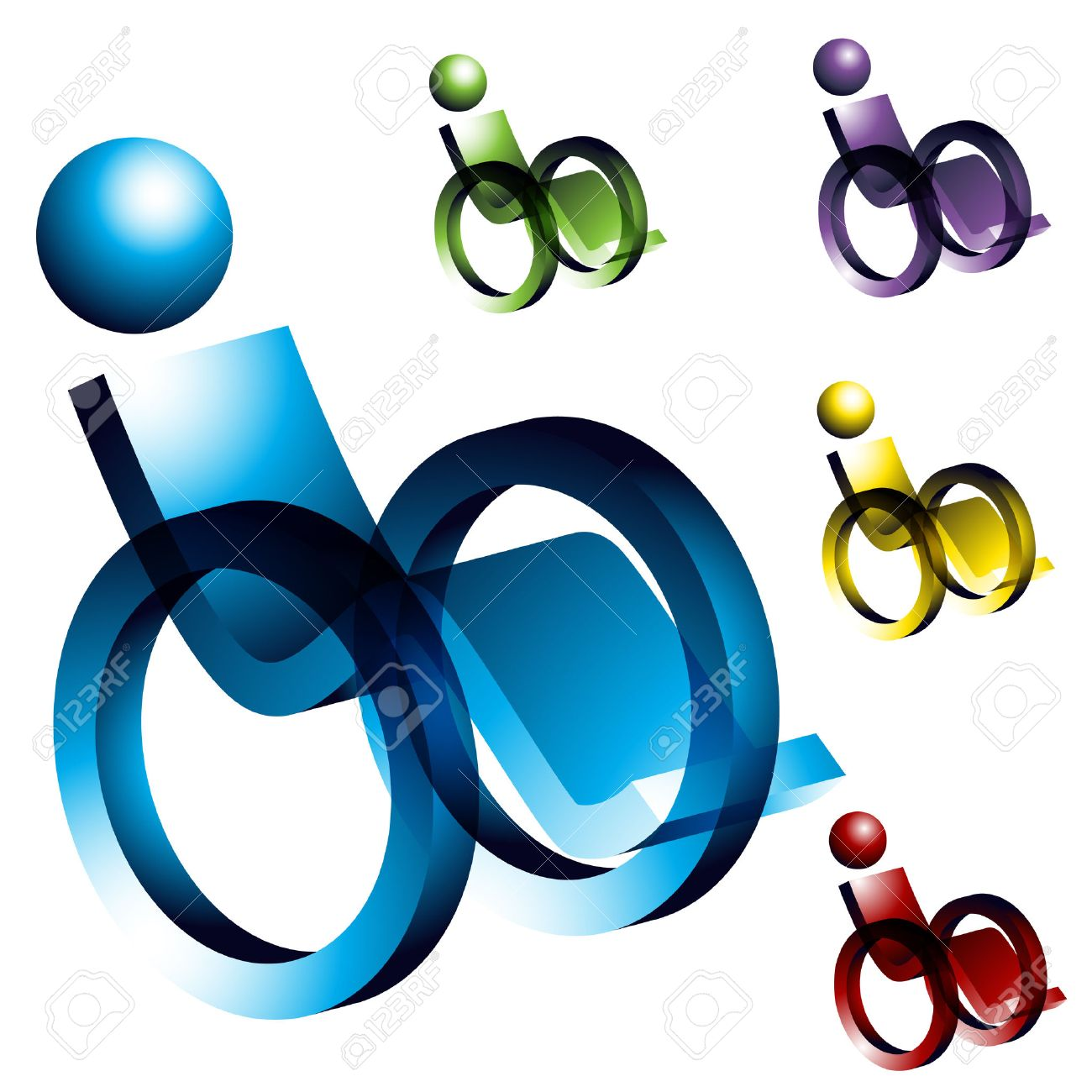 An image of 3d wheelchair icons. Stock Vector - 7945443