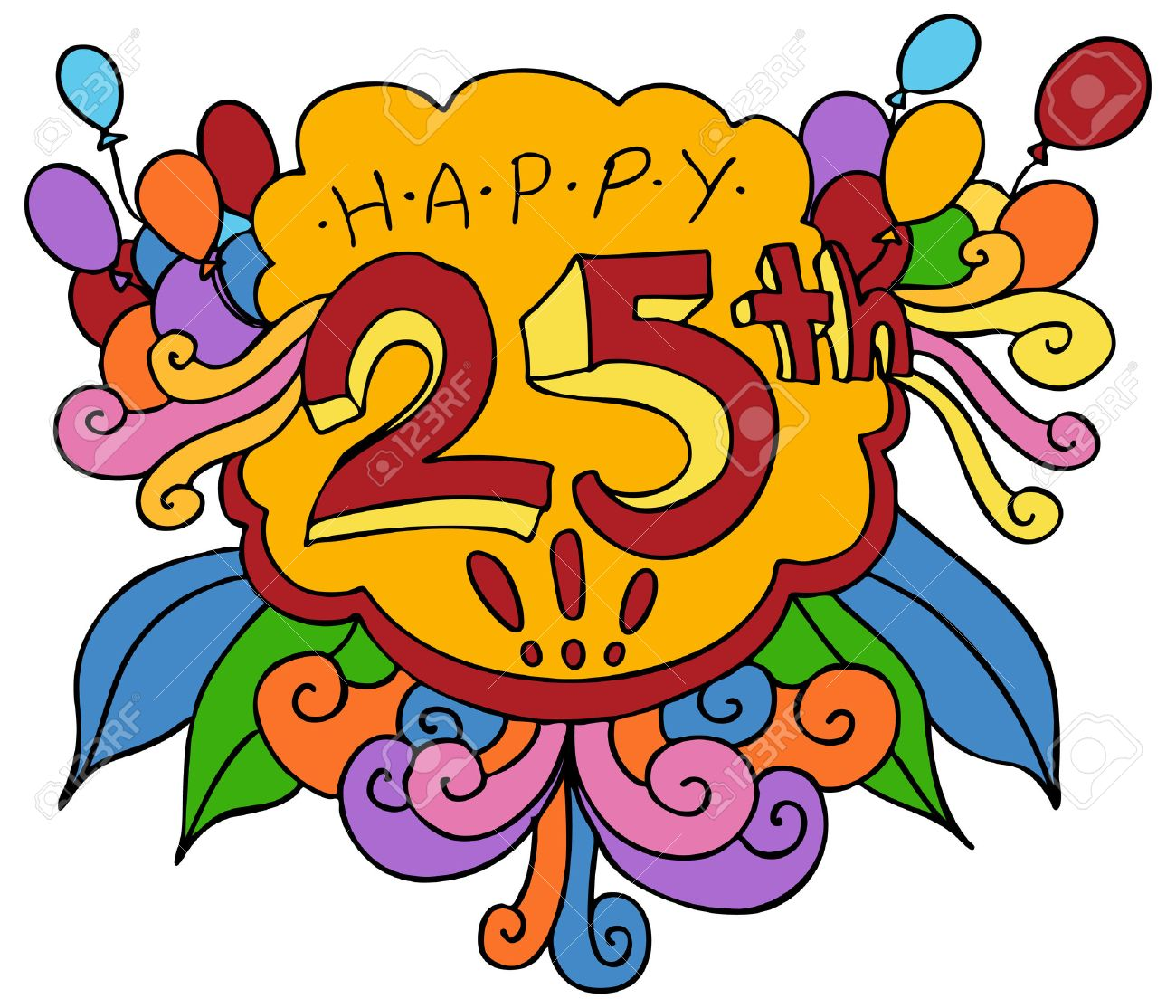 0 25th Stock Vector Illustration And Royalty Free 25th Clipart throughout free clip art 25th birthday for your reference