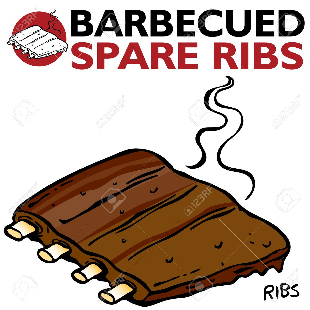 An image of Barbecued Spare Ribs. Stock Vector - 8000401