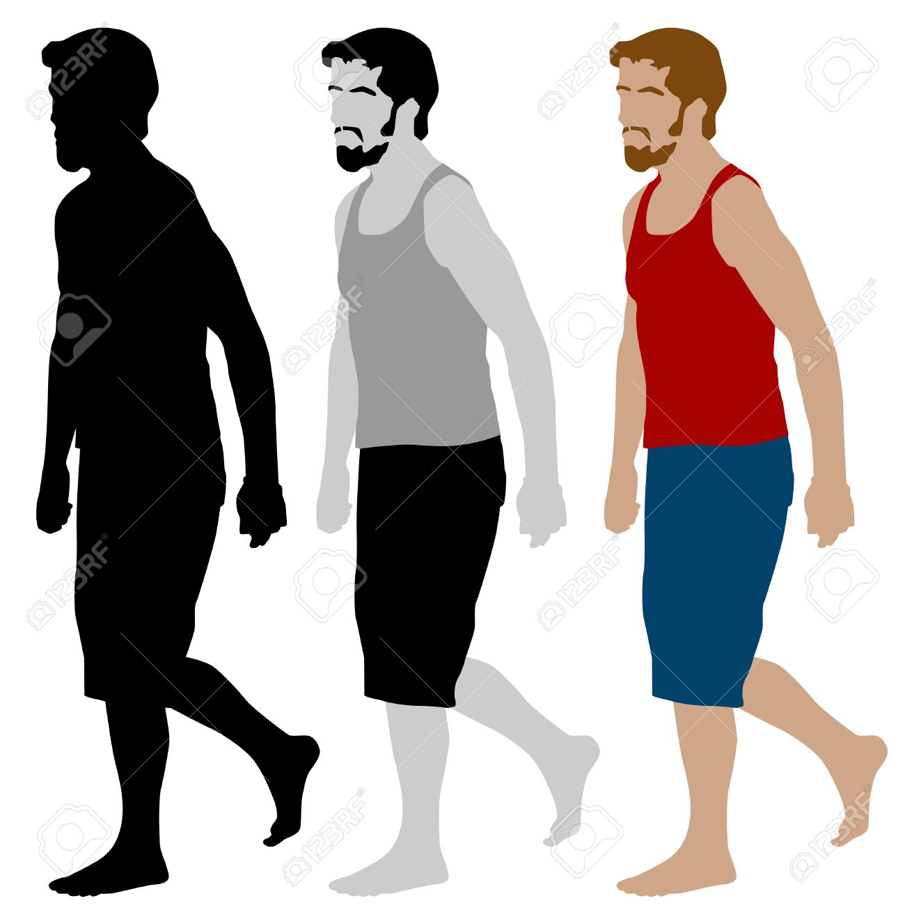 An image of a walking man set. Stock Vector - 8130364