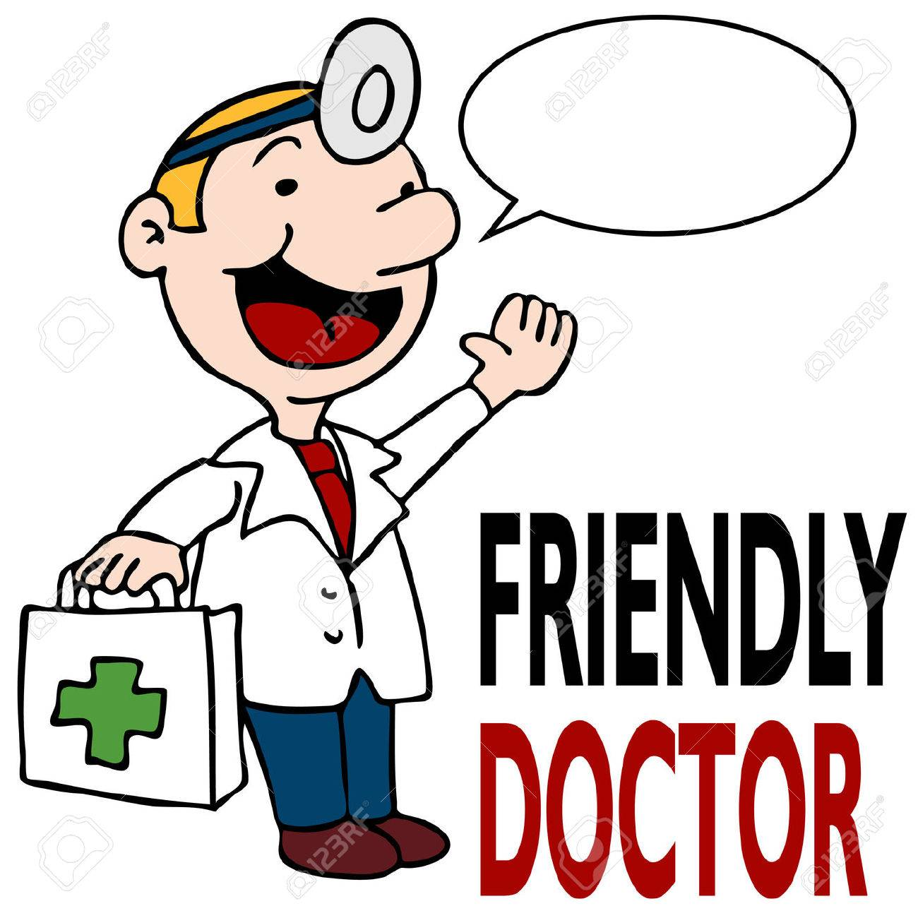 an image of a friendly doctor holding medical kit royalty free