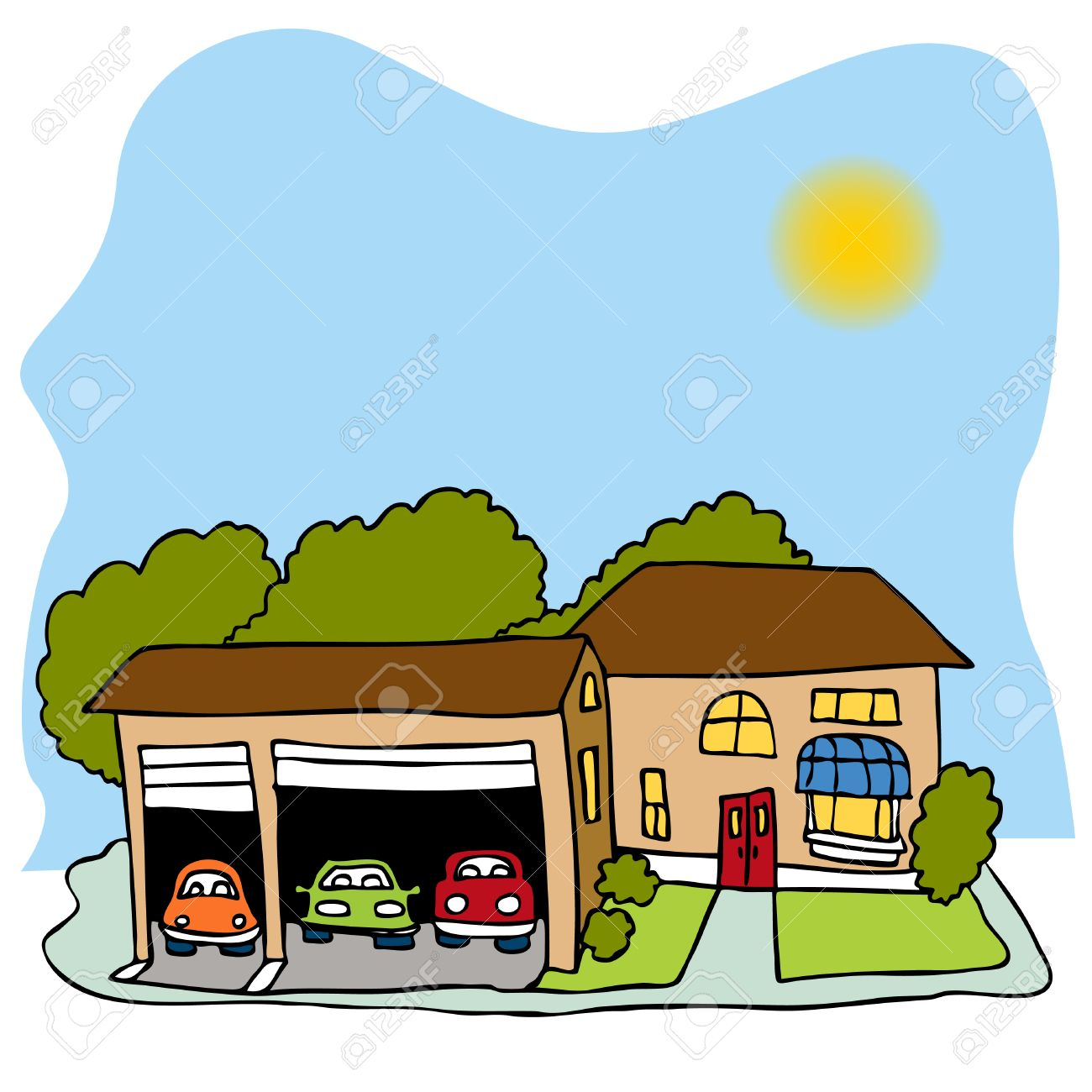 An image of a house with a three car garage. Stock Vector - 8186954