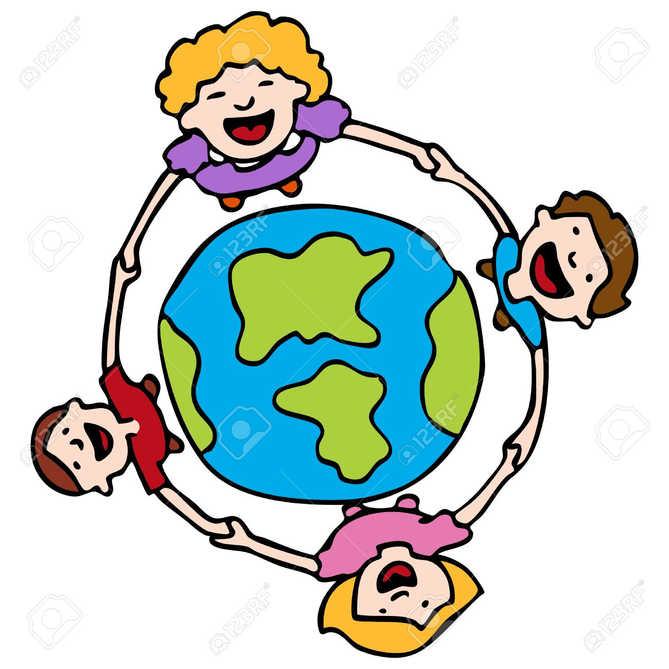 An image of a children holding hands around the Earth. Stock Vector - 8186952