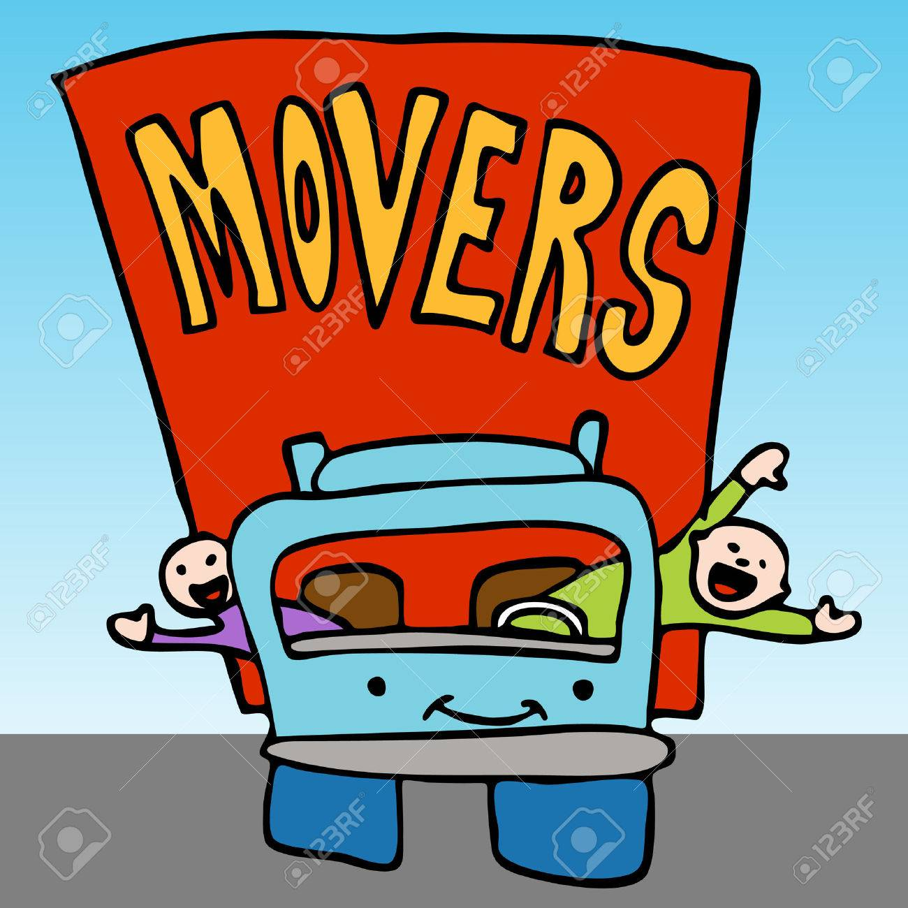 An image of a movers waving from the moving truck. Stock Vector - 8186949