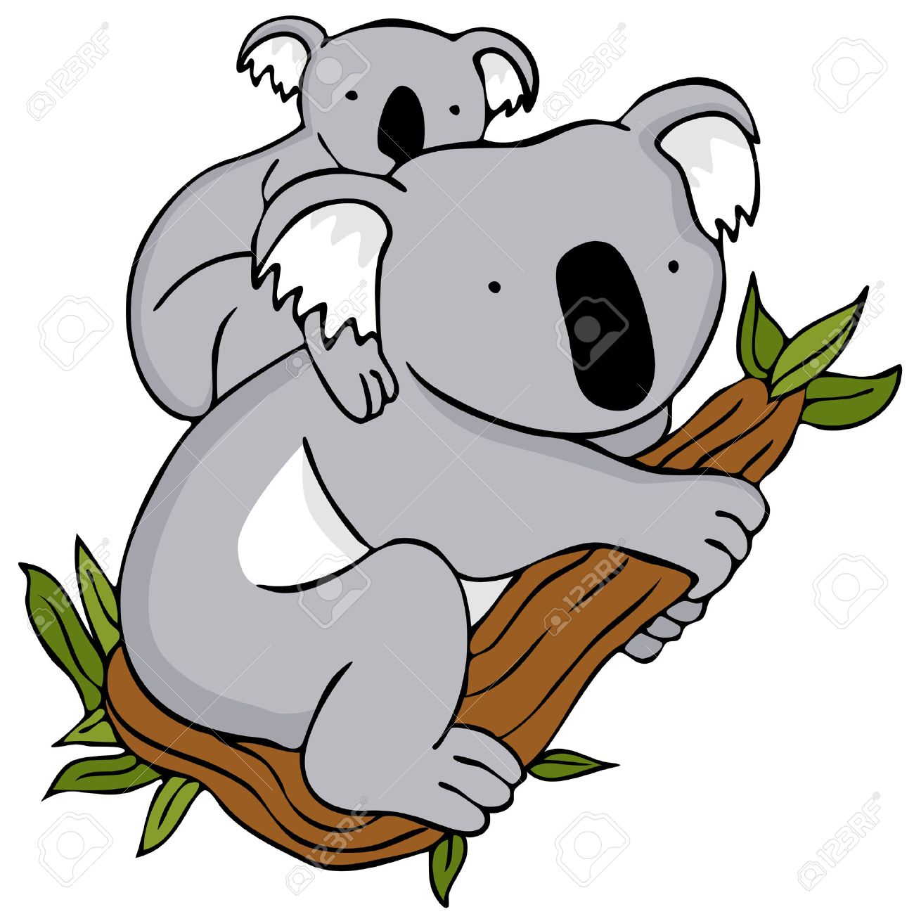 An Image Of A Koala Baby And Mom Cartoon Drawing Royalty Free