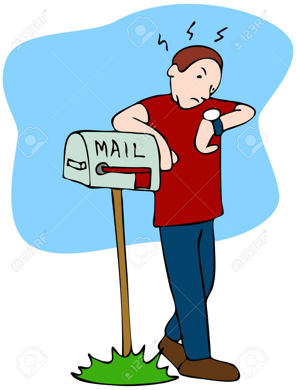 Waiting For Mail >> An Image Of A Man Waiting For The Mailman To Bring The Mail Royalty