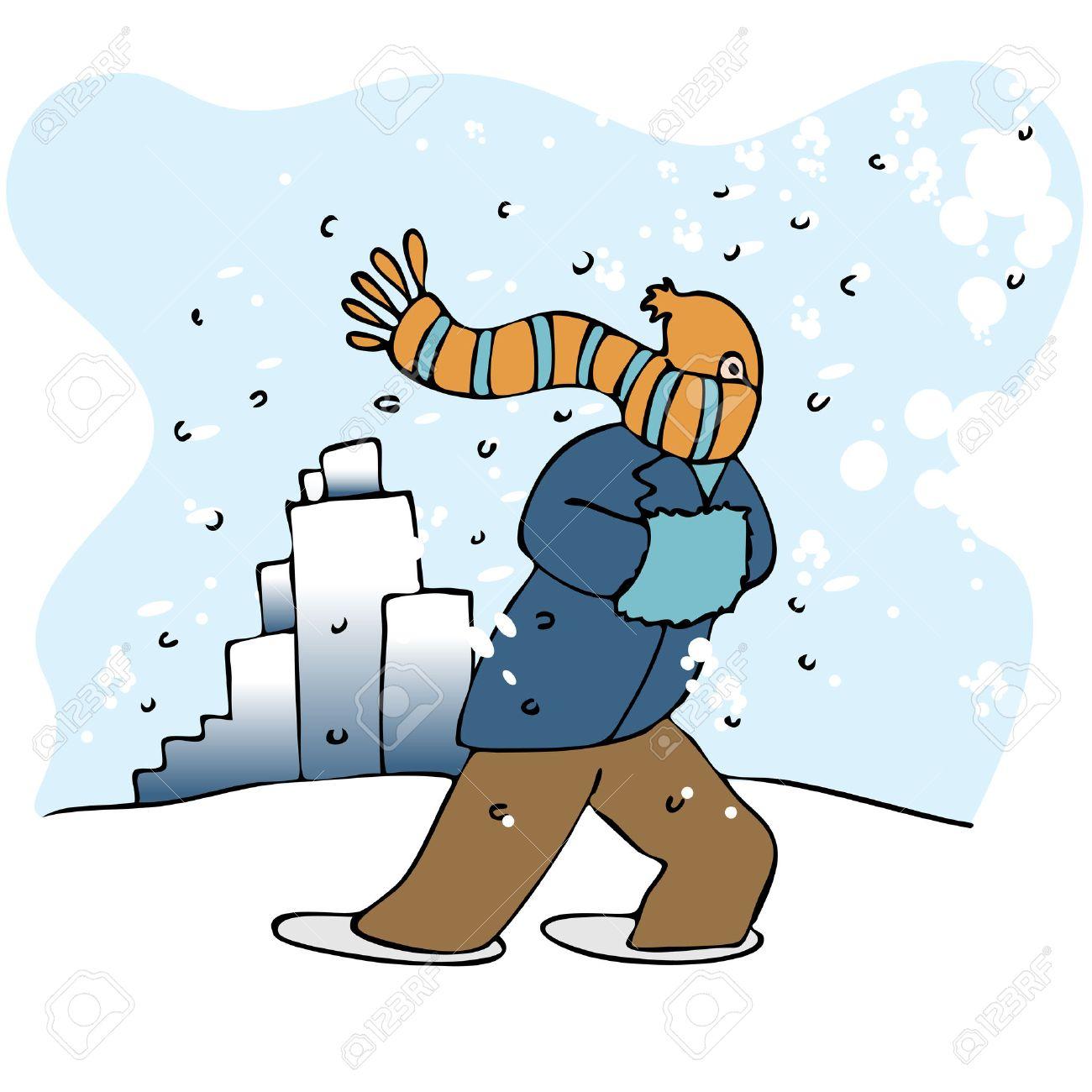 walking in blizzard clipart