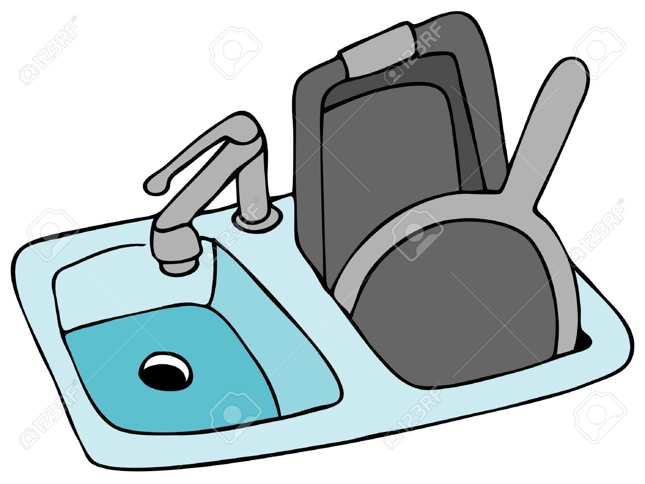 an image of a kitchen sink with pans royalty free cliparts vectors rh 123rf com Kitchen Sink Drawing everything but the kitchen sink clipart