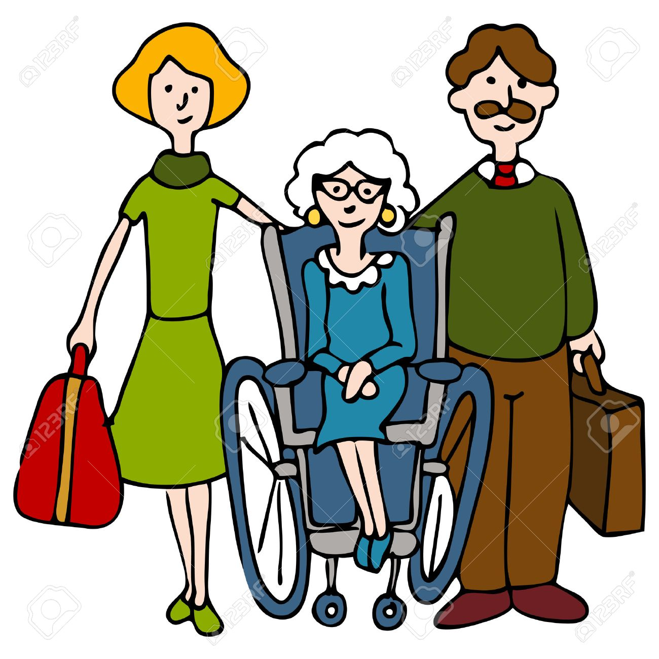 An image of a family moving elderly woman to a nursing home. Stock Vector - 8535063