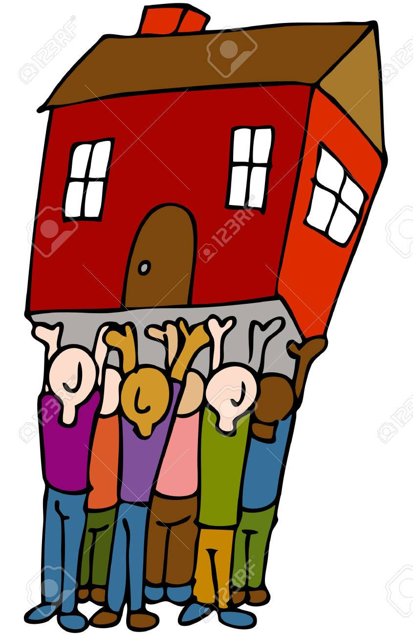 An image of a people lifting a house. Stock Vector - 8566084