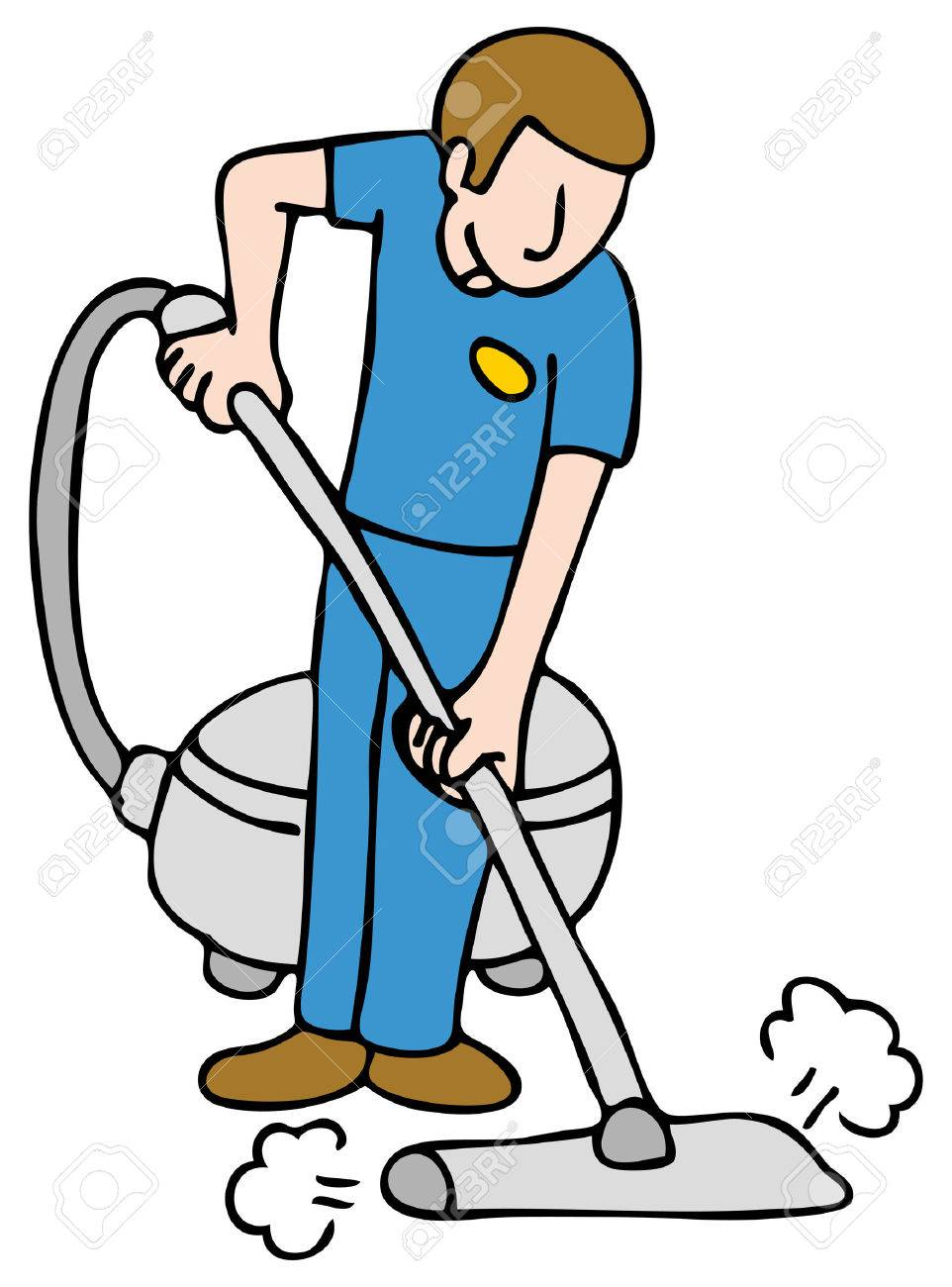 An image of a man using a carpet cleaning machine. Stock Vector - 8566076