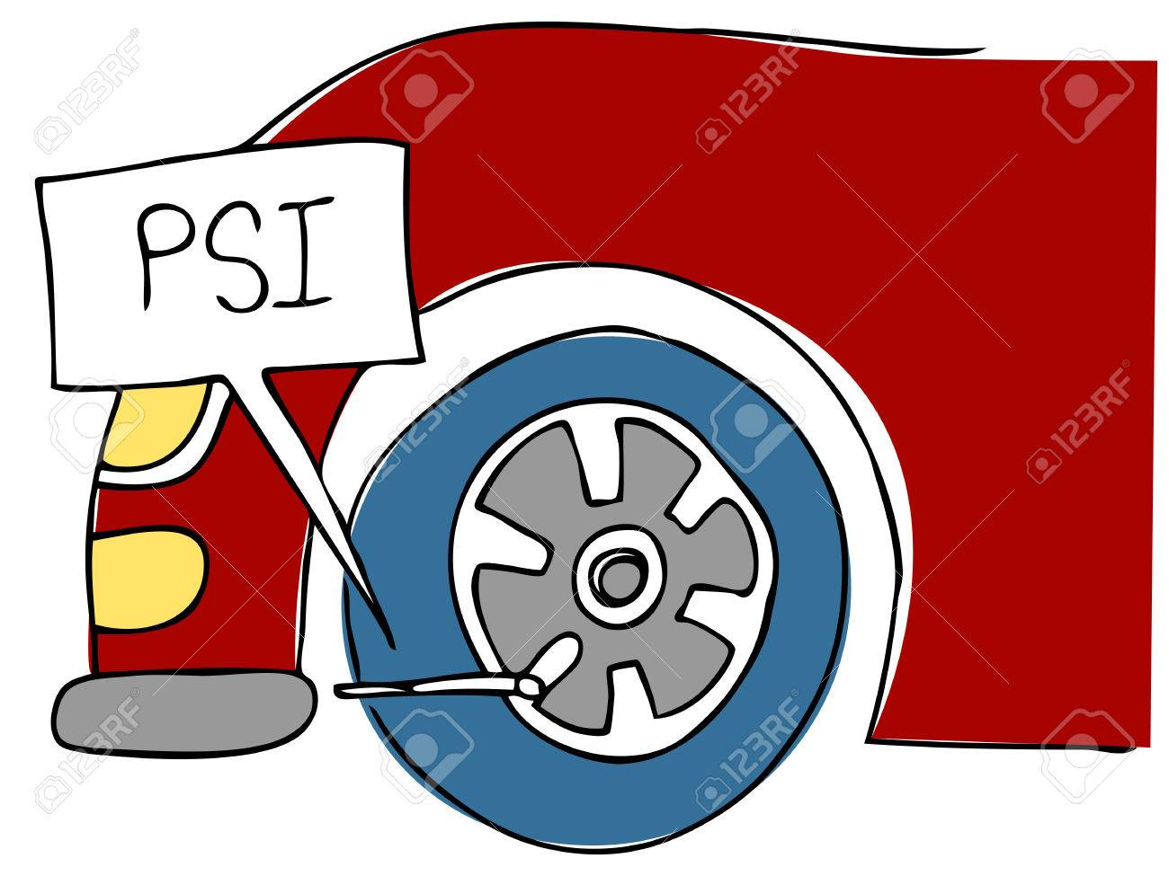 An image of a PSI tire pressure. Stock Vector - 8579045
