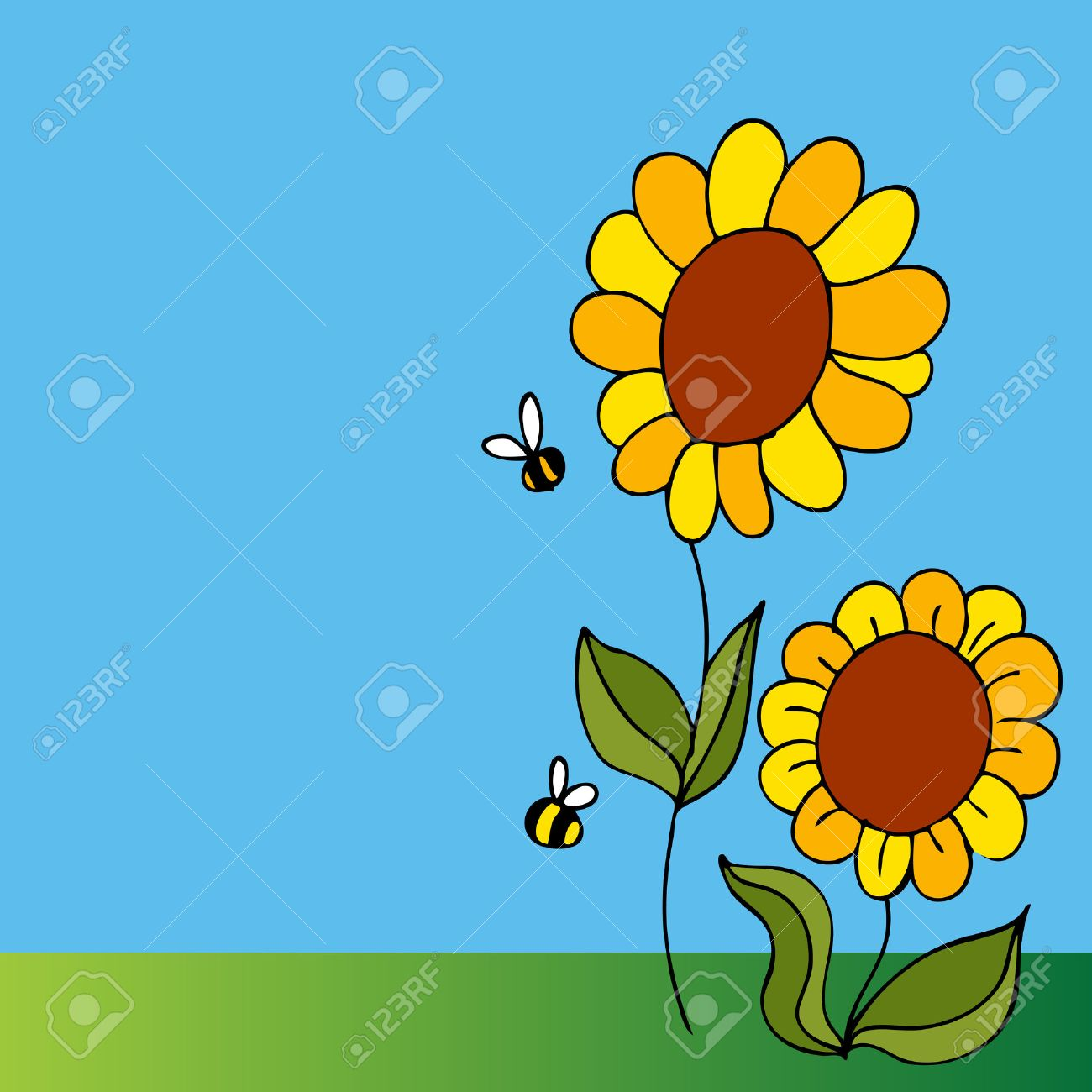 An image of a two sunflowers and two bees. Stock Vector - 8610255