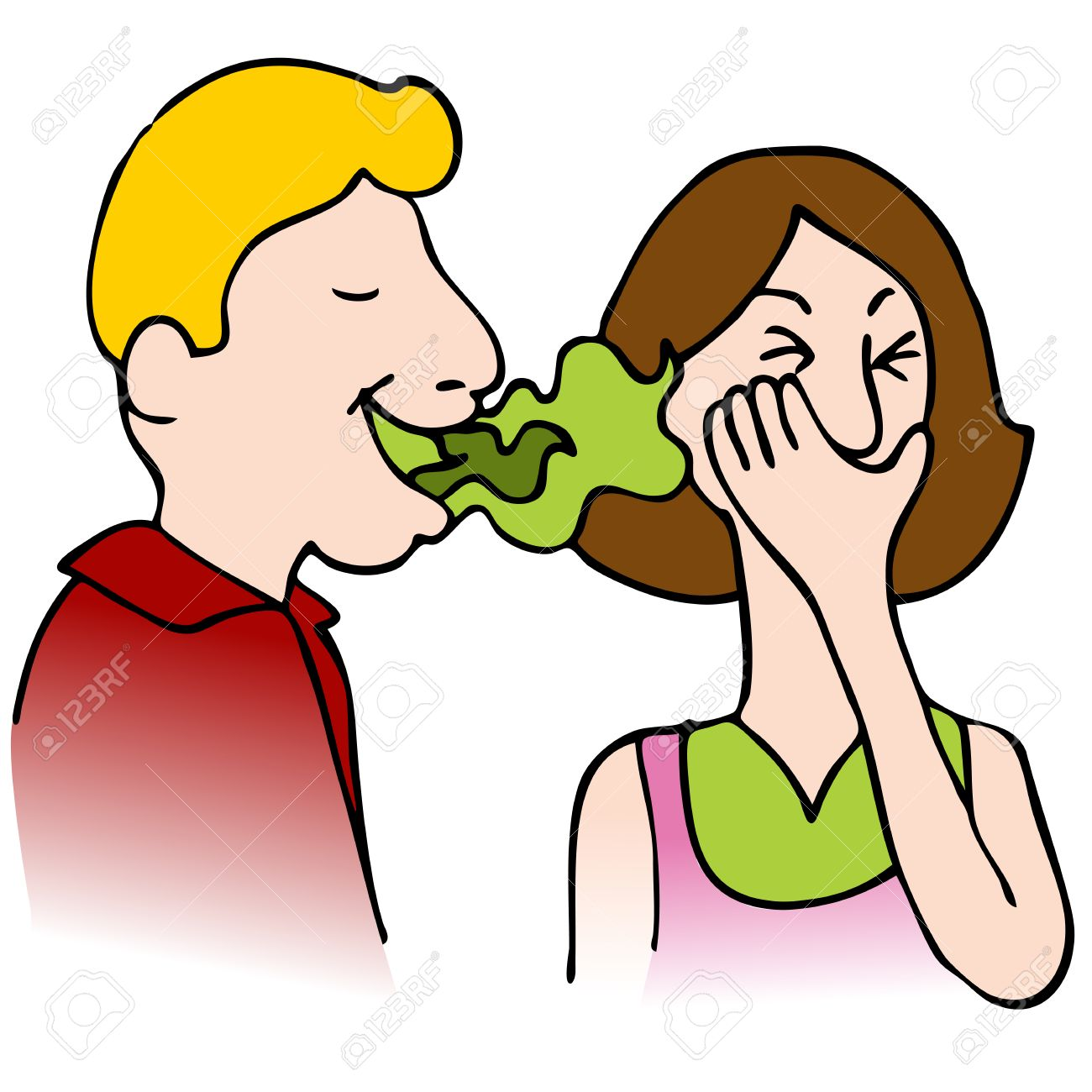 An image of a man with bad breath talking to a woman. Stock Vector - 9031654