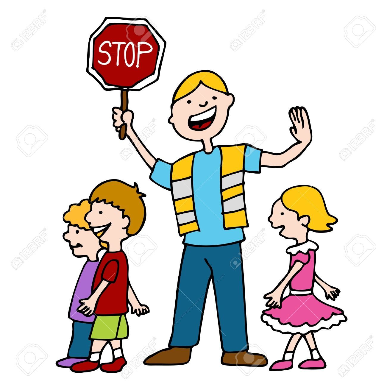 An Image Of A Crossing Guard With Children. Royalty Free Cliparts ...