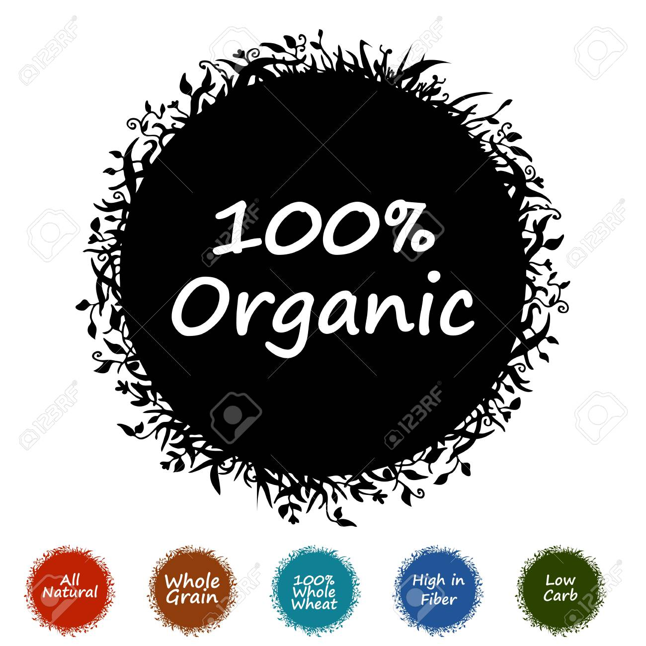 An image of a plant silhouette icon with healthy text words. Stock Vector - 9194069
