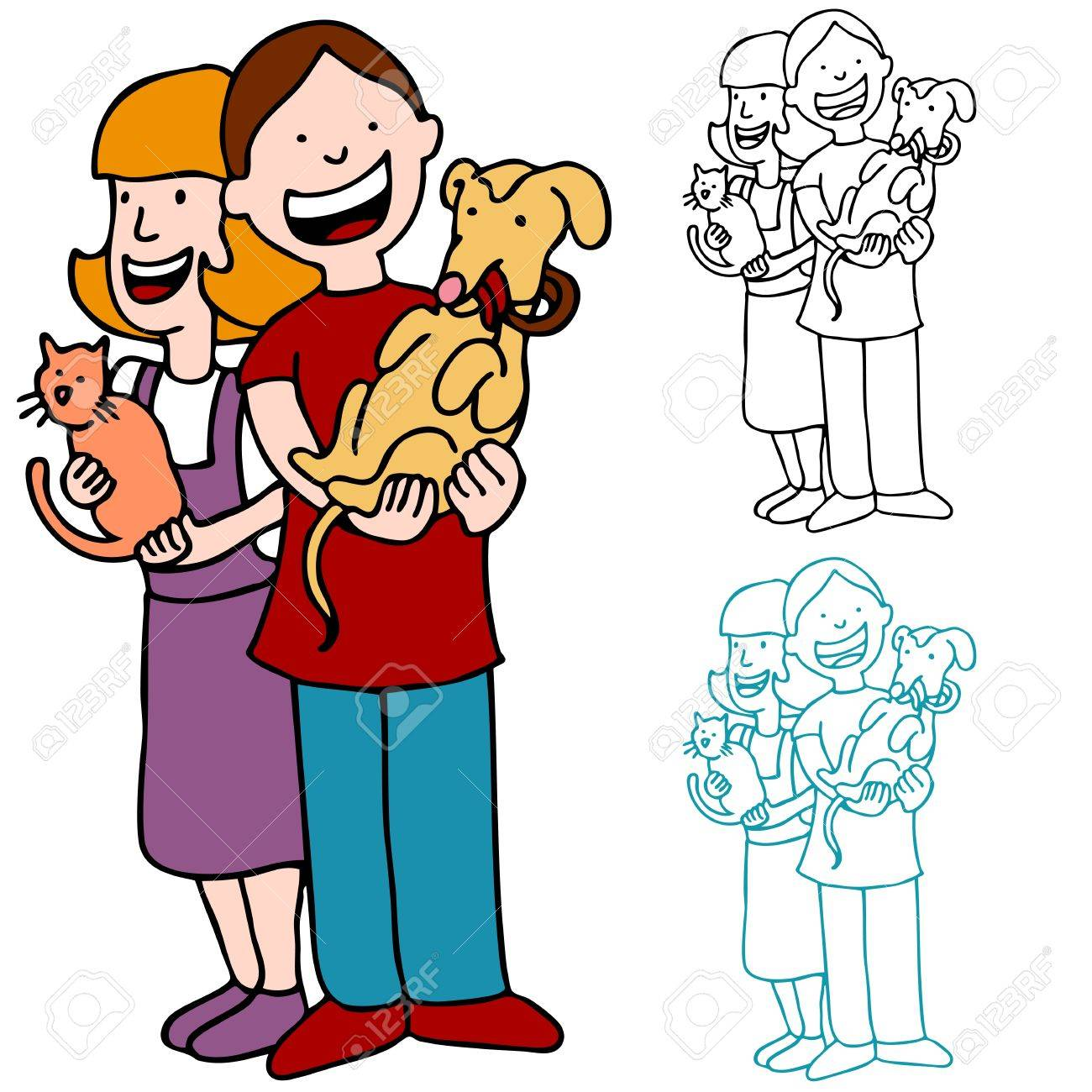 An image of a boy and girl holding a cat and dog. Stock Vector - 9244983