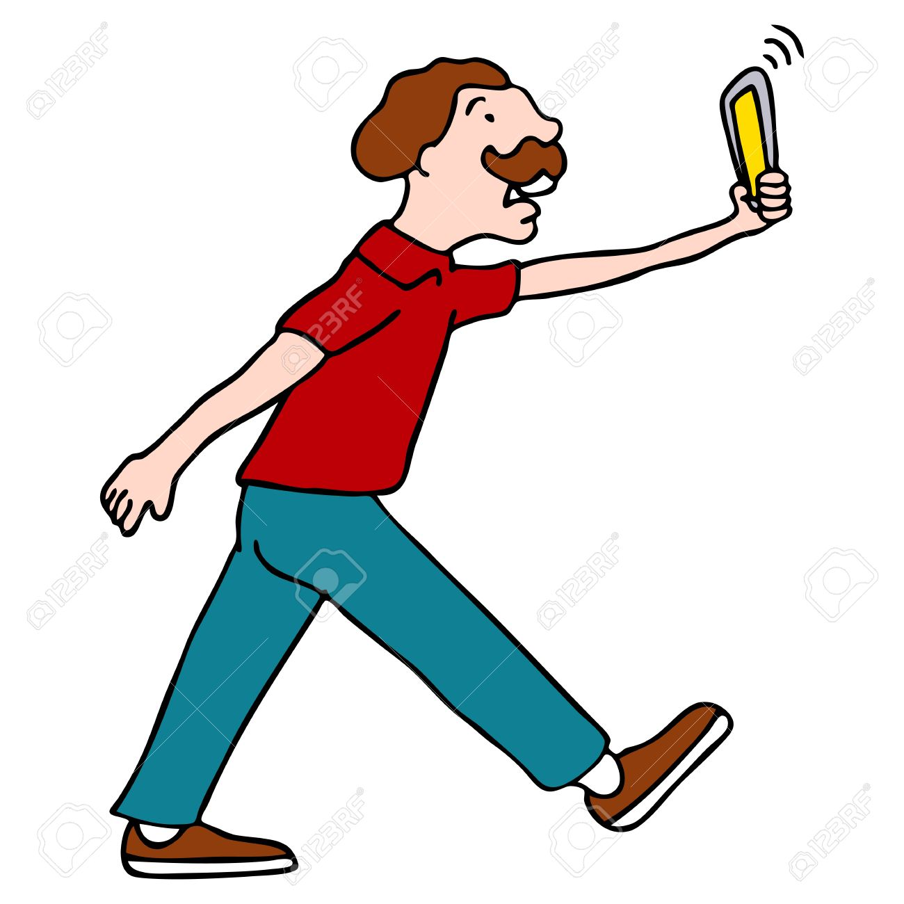 An image of a man walking with his video camera smartphone. Stock Vector - 9287639