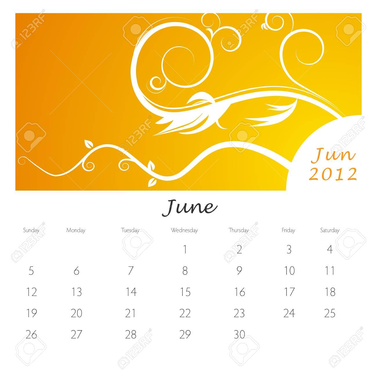 An image of a June 2012 vine swirl calendar. Stock Vector - 9455604