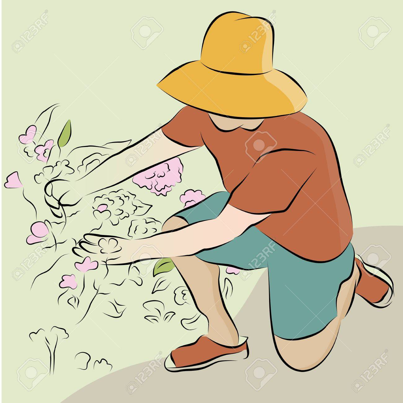 An image of a man pruning flower garden line drawing. Stock Vector - 9552308