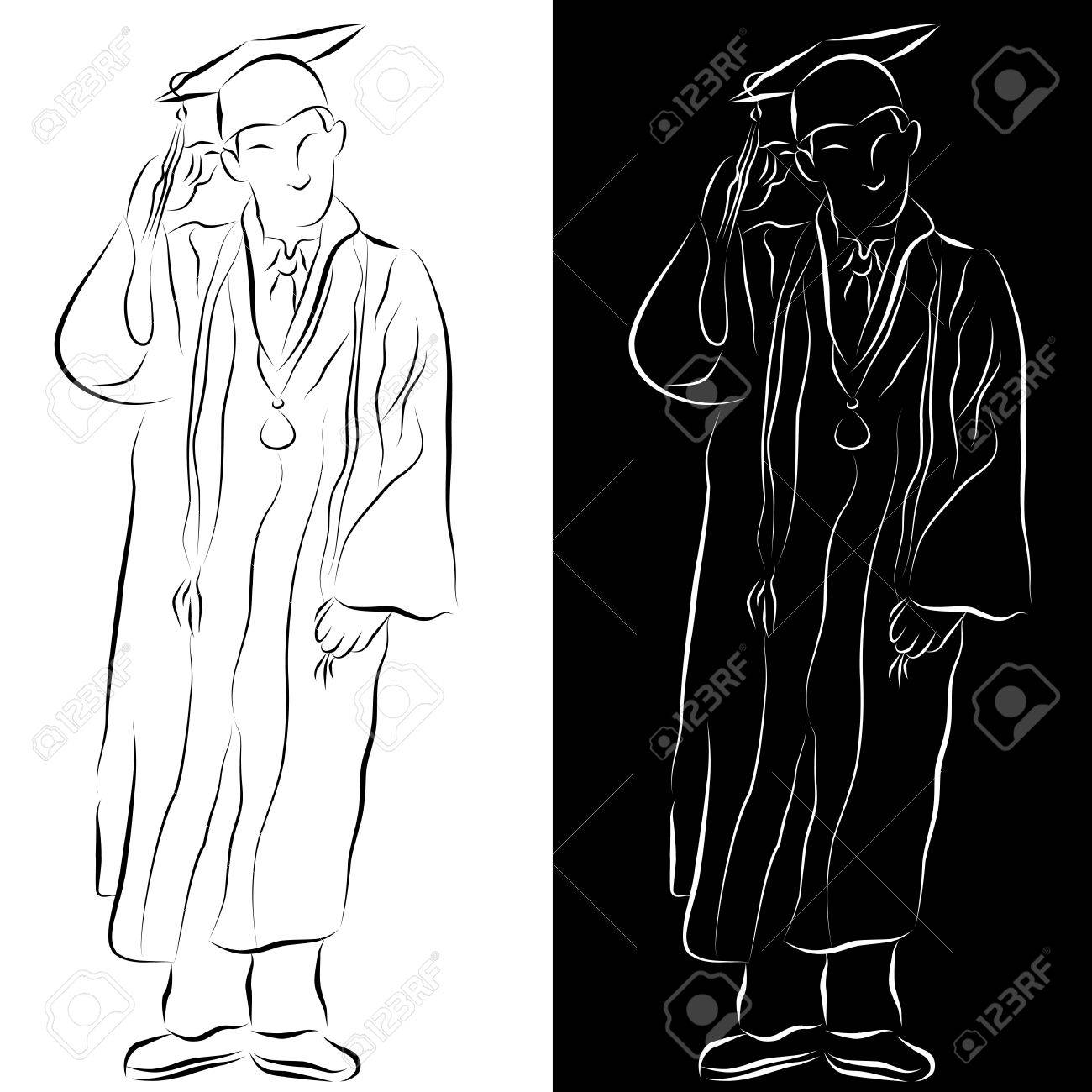 An image of a student dressed in a graduation gown line drawing. Stock Vector - 9552285