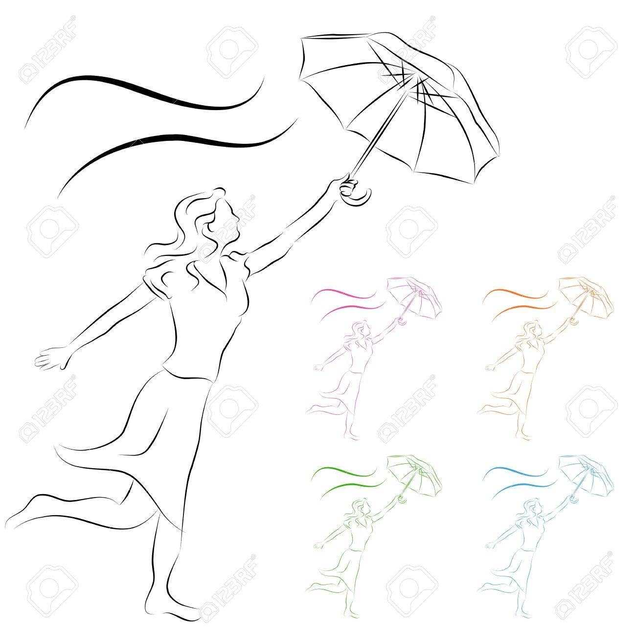 An image of a woman holding an umbrella line drawing. - 9552306