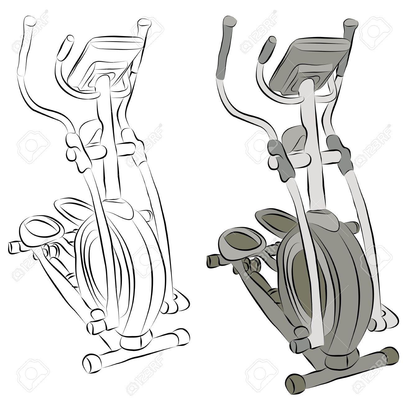 An image of a elliptical machine line drawing. Stock Vector - 9552274