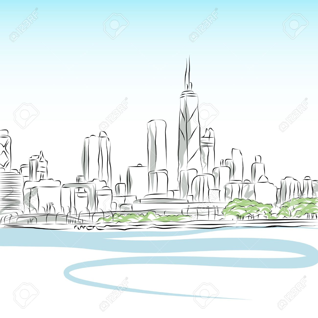 An image of a Chicago cityscape line drawing. Stock Vector - 9552275