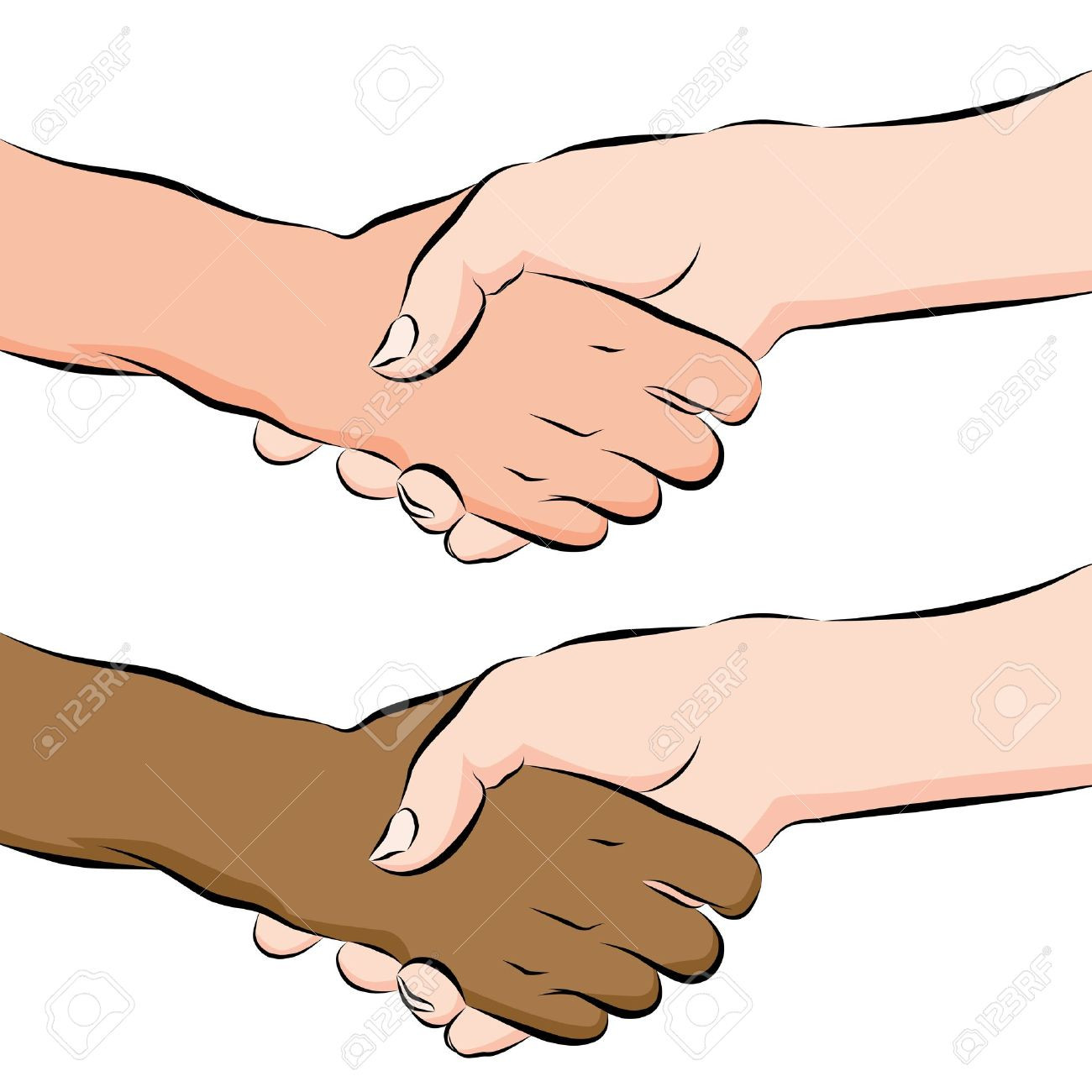 An image of a people shaking hands line drawing. Stock Vector - 9552315
