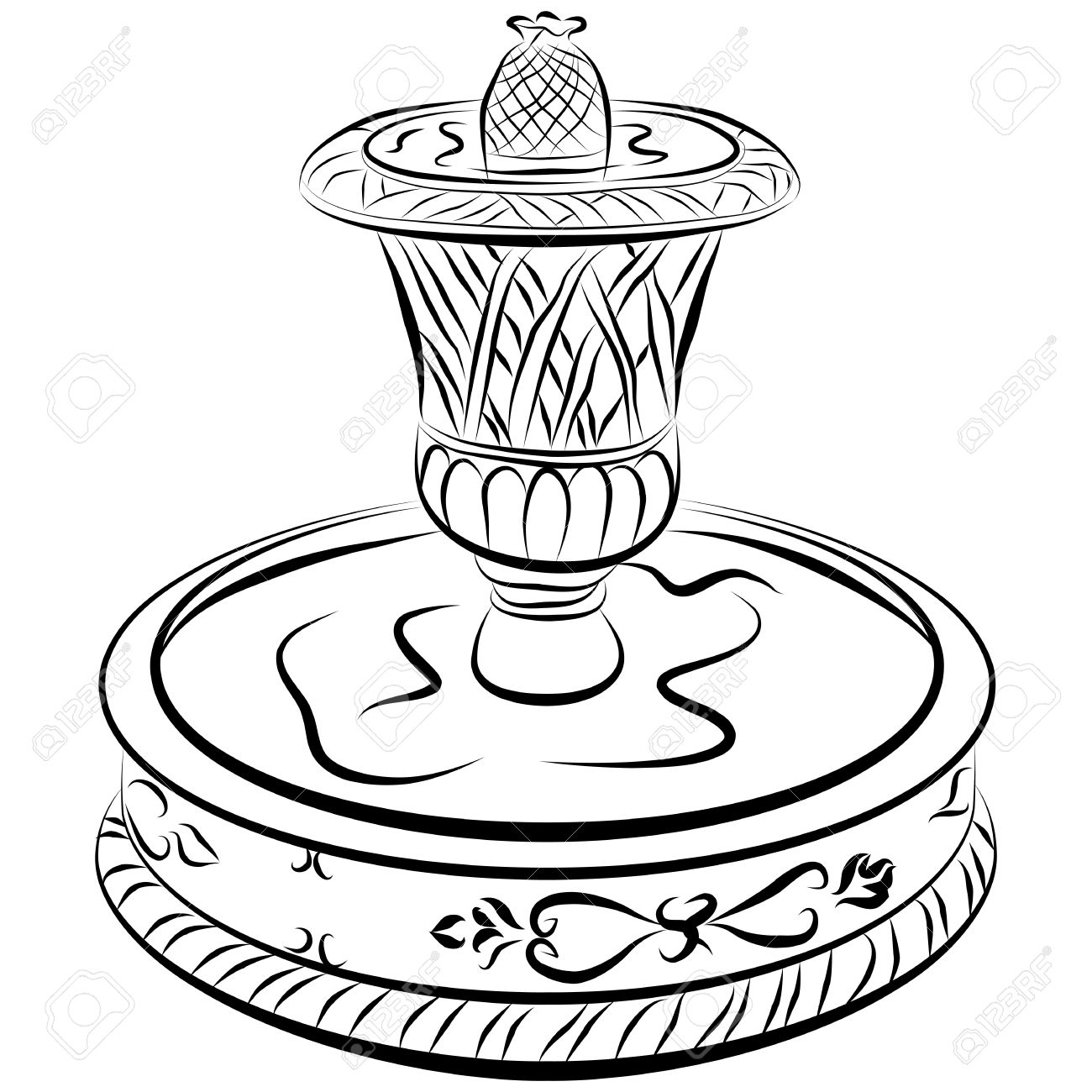 An image of a victoriam water fountain line drawing. Stock Vector - 9552317