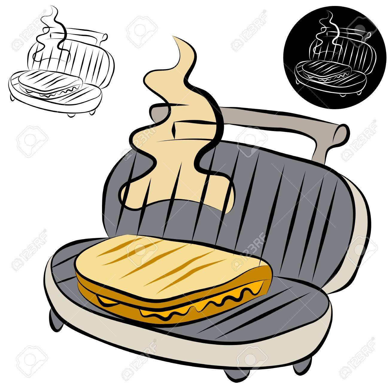 An Image Of A Panini Press Sandwich Maker Line Drawing. Royalty Free ...
