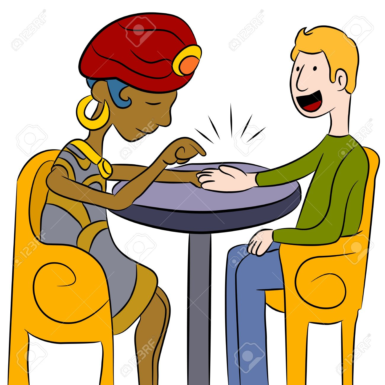 An image of a psychic palm reader with a client. Stock Vector - 9629010