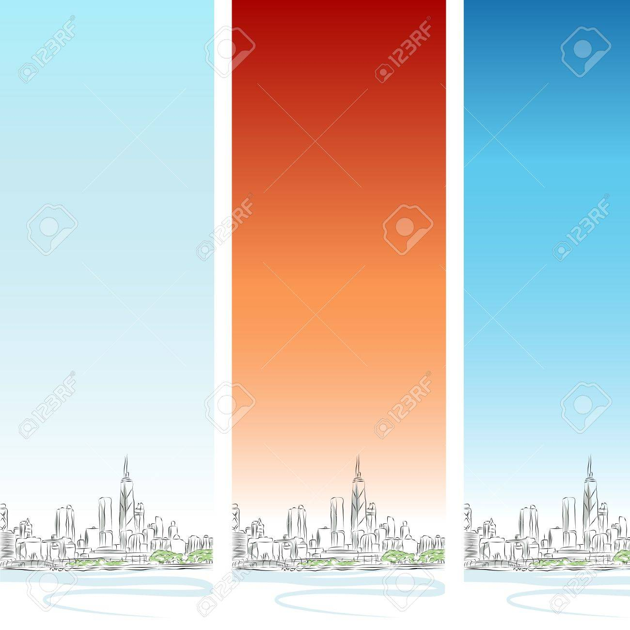 An image of a Chicago cityscape vertical banner set. Stock Vector - 9673091