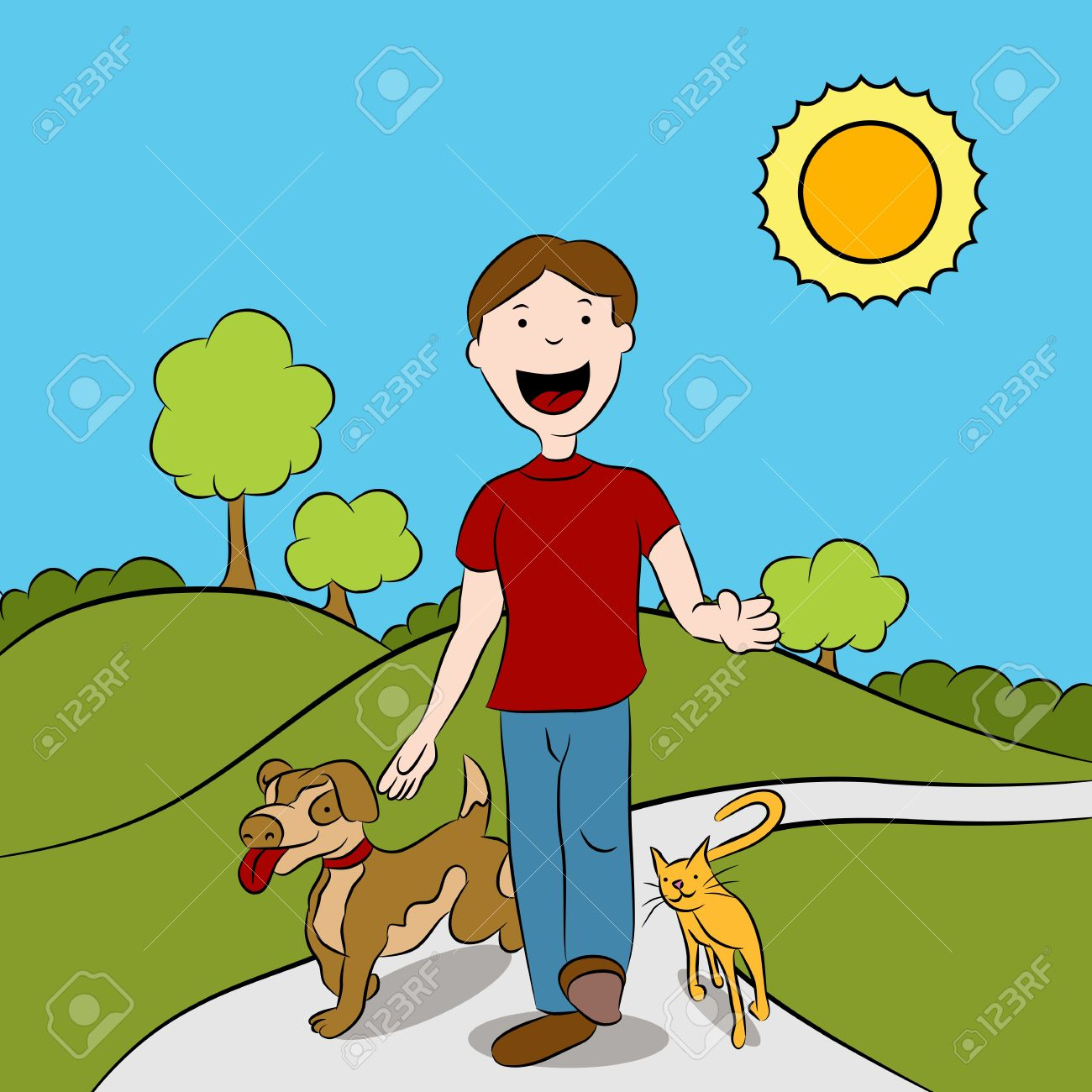 Man walking with his cat and dog in the park. Stock Vector - 9719373