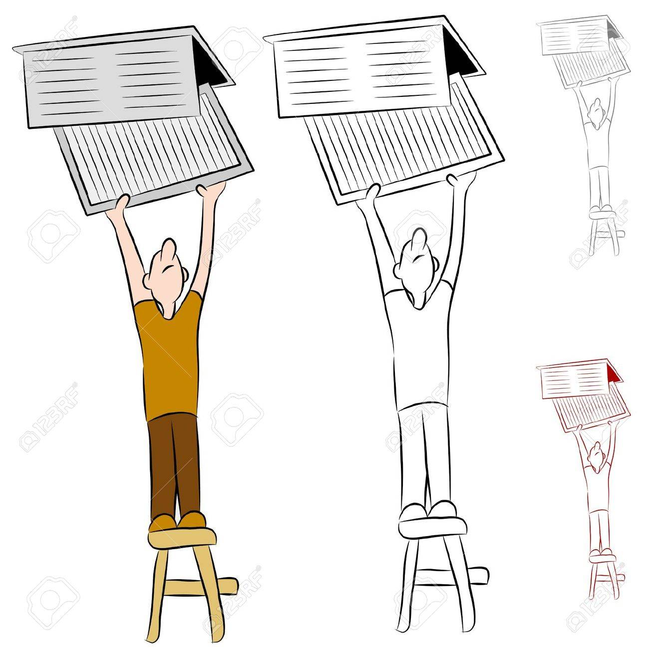 An image of a man changing his home heating and cooling conditioner system air filter. Stock Vector - 9721403