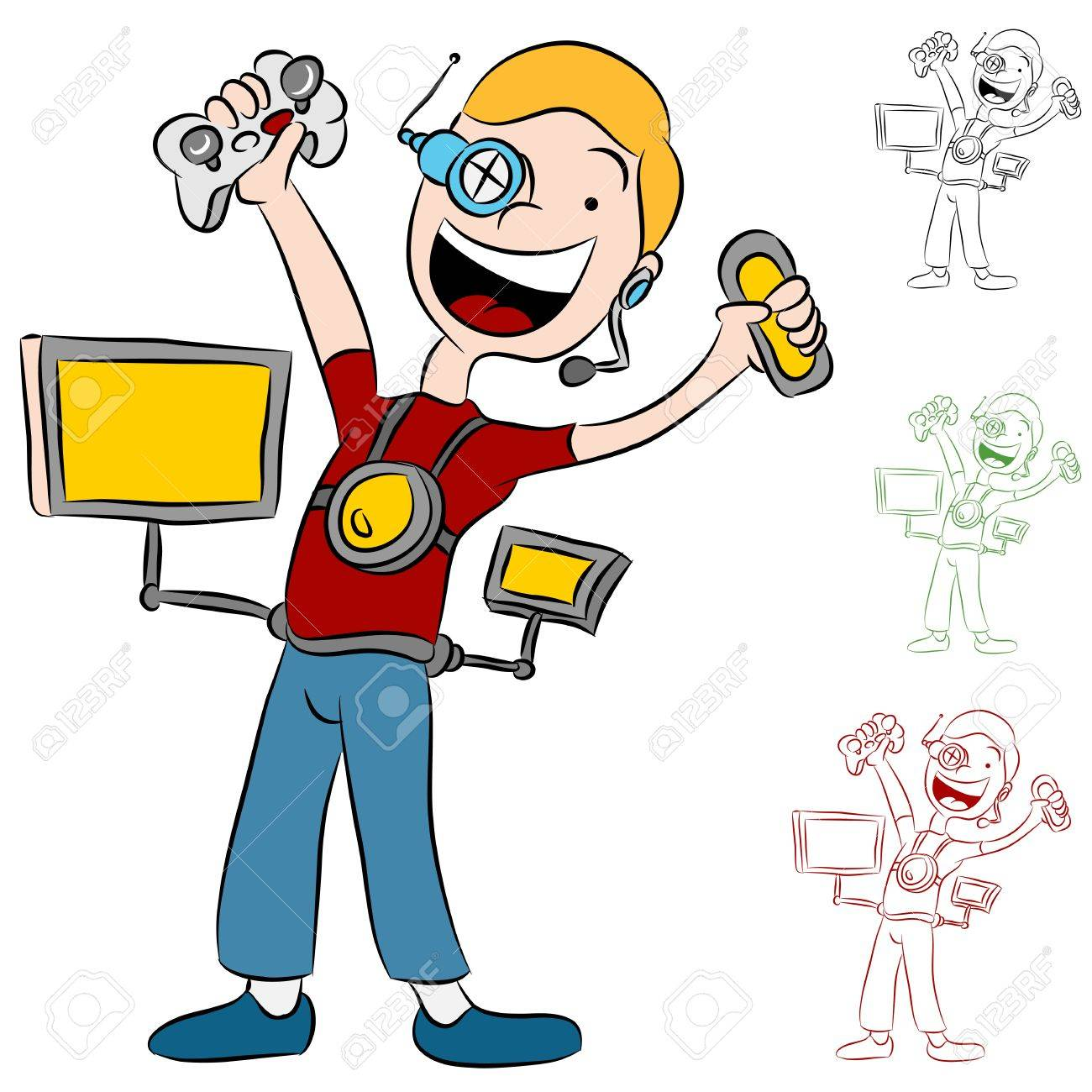 An image of a kid addicted to computer video games. Stock Vector - 9921222