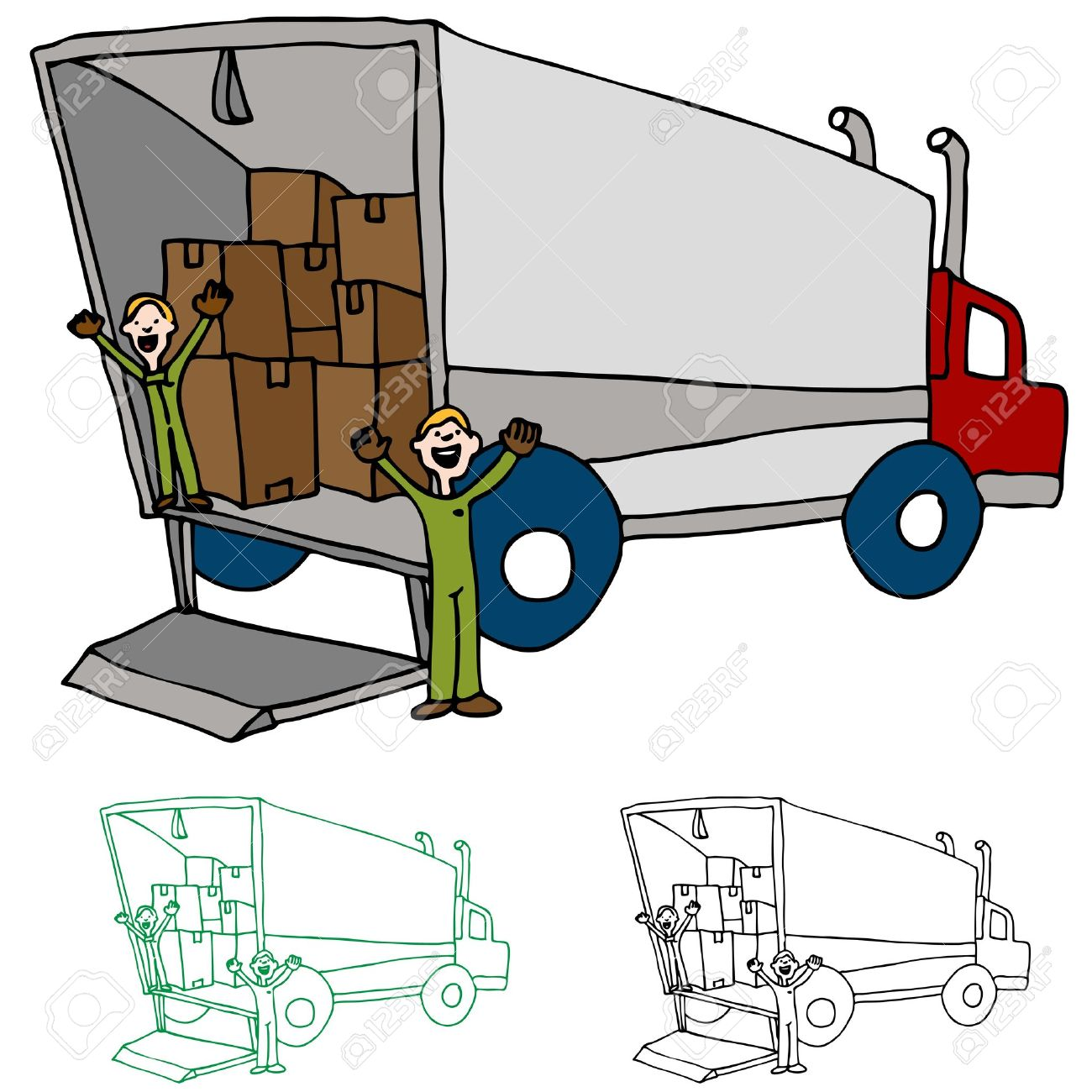 an image of a moving truck with workers royalty free cliparts rh 123rf com  moving truck clipart free