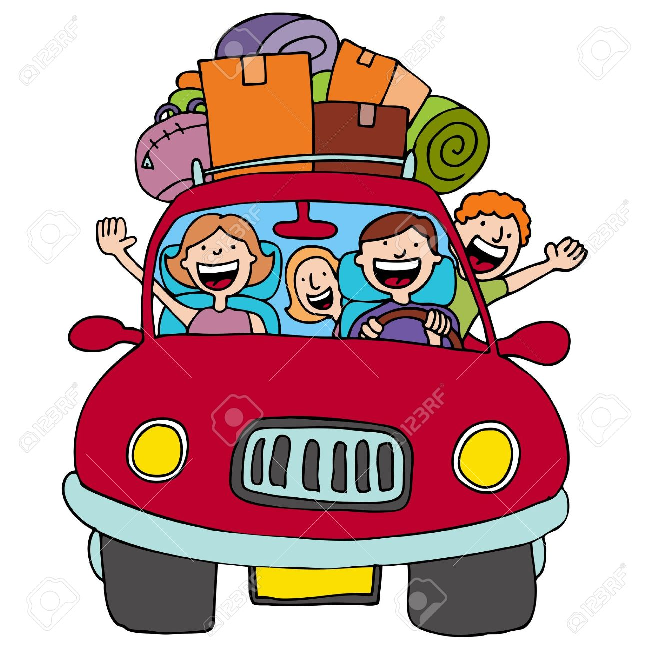 an image of a family driving in their car with luggage on top rh 123rf com Cartoon Convertible Car Road Trip Clip Art
